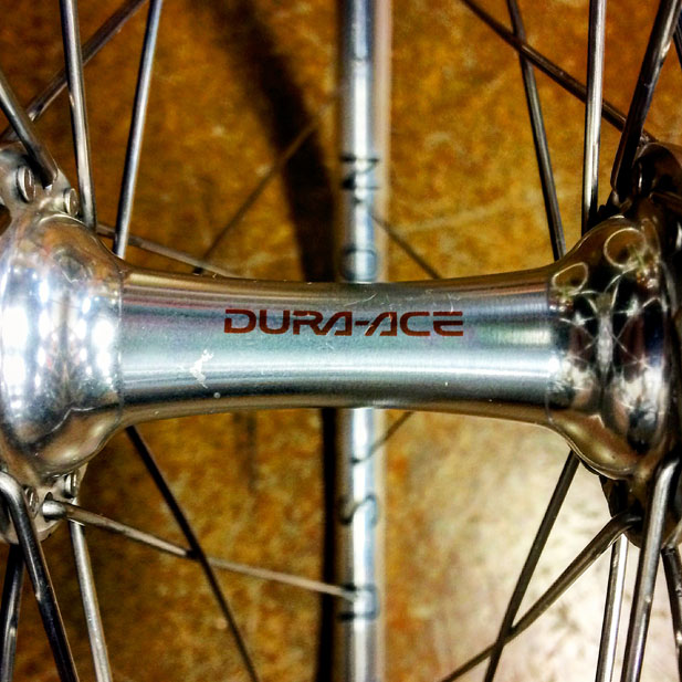 Shimano Dura Ace hub with H Plus Sons polished road rim