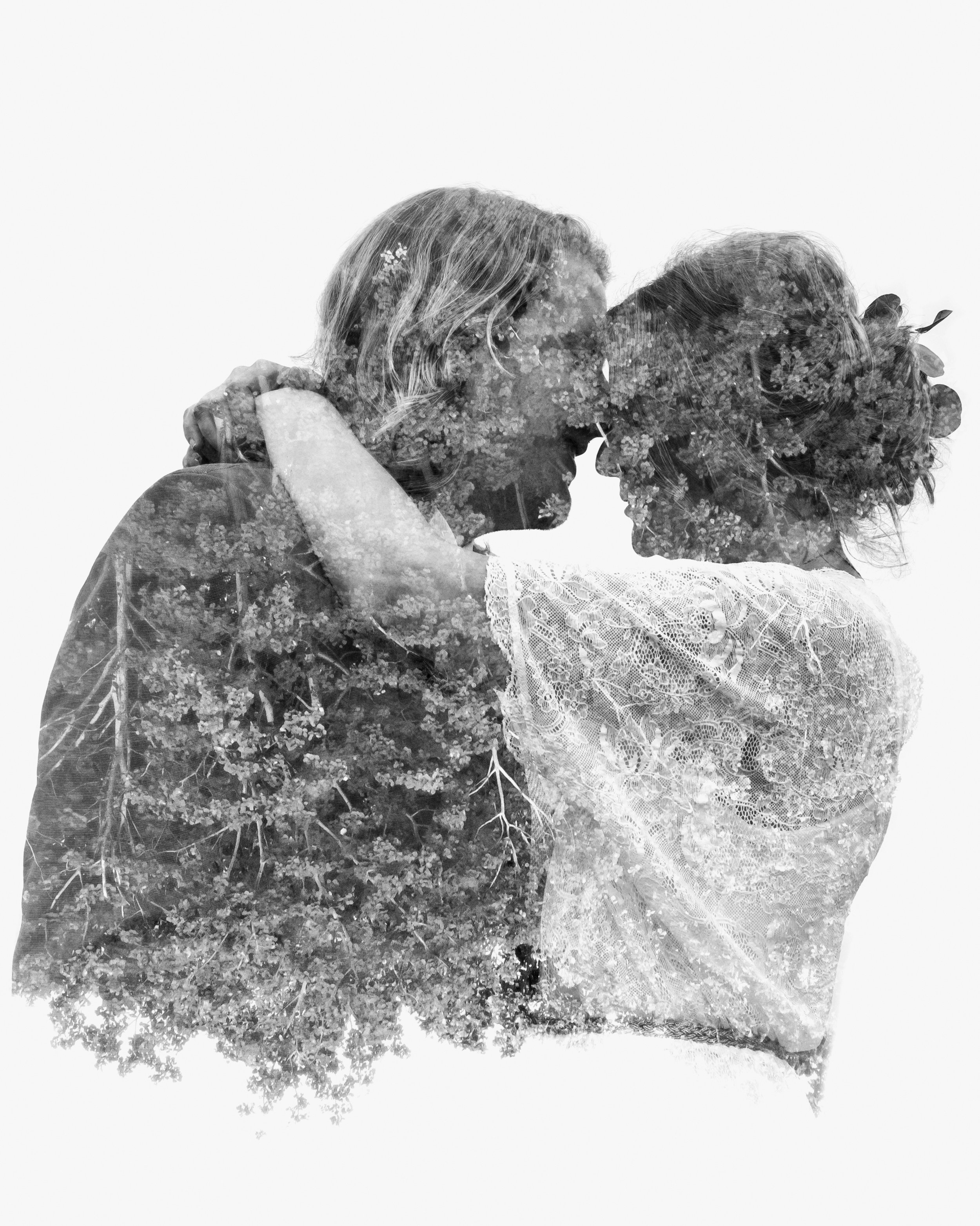 Faux Double Exposure of the Bride and Groom.
