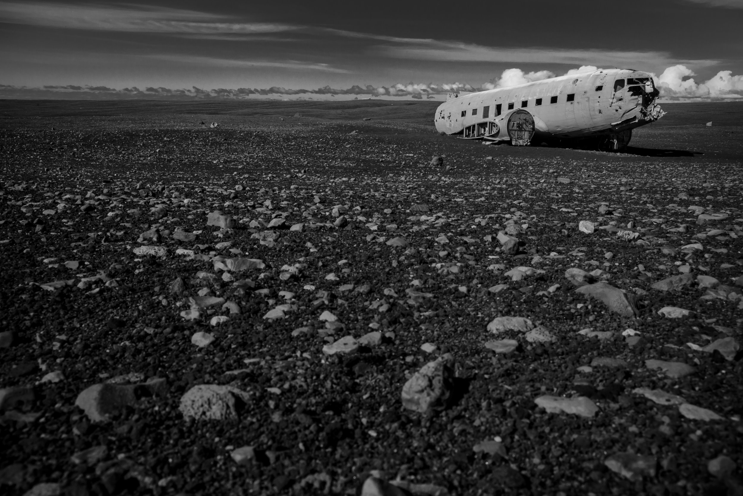 A spacecraft (or maybe an airplane?) crash landed on the black sands of Sólheimasandur.