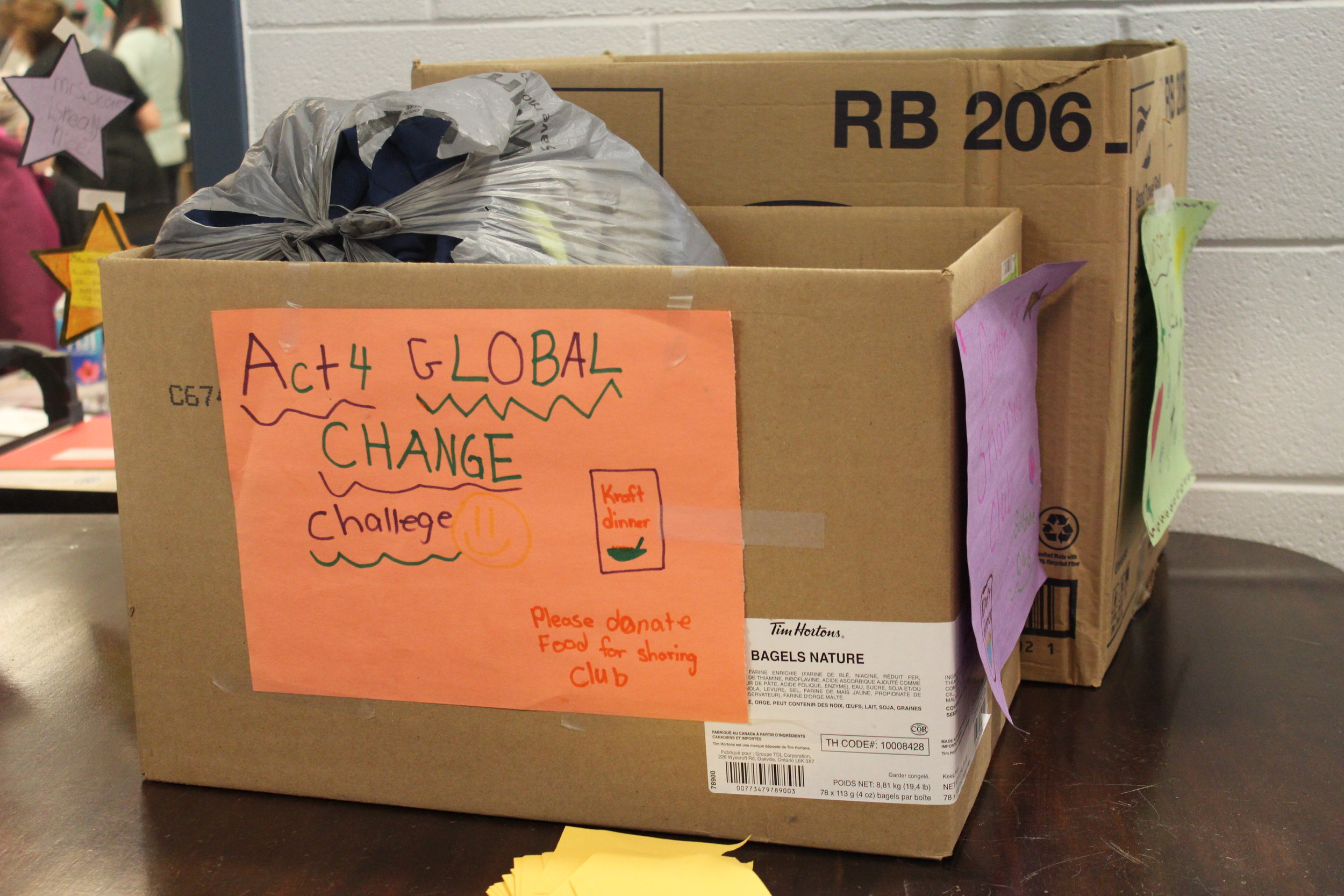 We have placed several boxes in the front lobby that we are now collecting for our local Sharing Club (food and clothing). The students will be bringing in non-perishable food items until the end of the month and slightly used clothing. We will then be delivering to the Sharing club, on behalf of our school and Sunshine Club! We want to show our community that we can make a difference! Our Sunshine Club decorated the boxes and are doing guest spots on the morning announcements to remind students of this initiative!  Helping to support our community needs. Our students are learning various ways they can help support our community and reach outside of the school setting to help!