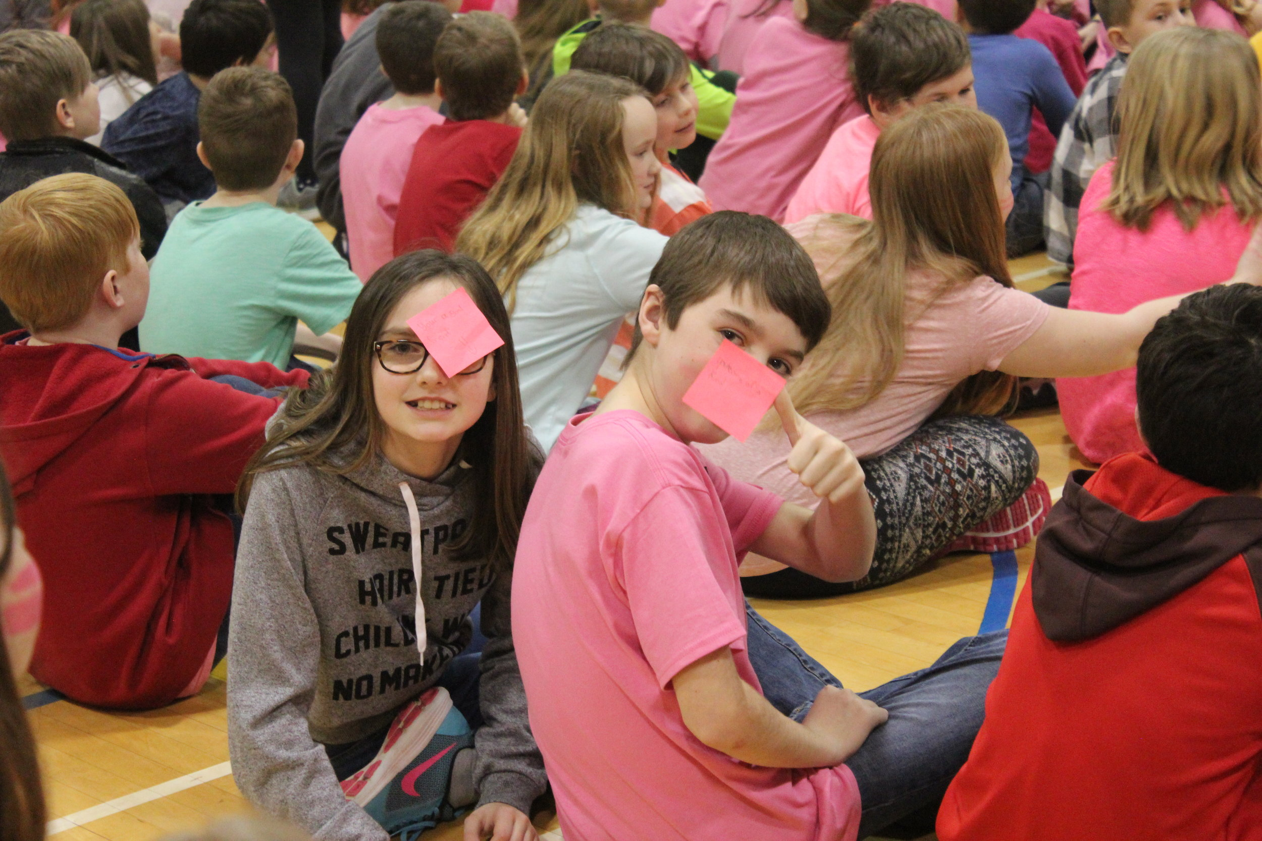 Our Sunshine Club was involved in our Pink Day assembly by writing up Pink Sticky notes and going out into the students sitting, posting positive messages on students to help brighten their day. They wrote things such as Be Yourself! and You are Awesome among many other happy messages with the goal of brightening someone else's day!  Our students are involved with our school community, helping to enhance the lives of our fellow students through simple positive messages that they created and posted on the kids!