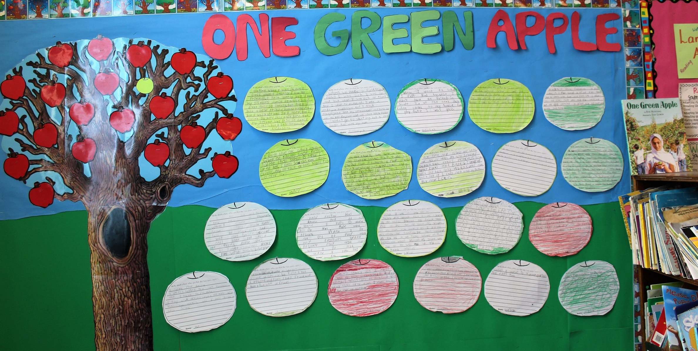 """We read the book One Green Apple, which addresses a child's experience living in a new country where she doesn't speak the language or know the culture. One of my students is a new addition to the class and country and is limited in her knowledge of the English language. Discussion allowed children to better understand how she may feel in our classroom and the importance of their words and actions in showing her acceptance and friendship. We then connected the symbolism of the one green apple being added to all the big red apples to make the cider in the book. Children could all relate to the theme of being left out, so they wrote about a time when they felt like """"one green apple"""".  This activity connects to global citizenship because it helps children to relate their experiences to those of another child from a different culture. Many students didn't think they could relate to the new student's situation, however, when looking at the common theme of feeling """"left out"""", they were able to make personal connections. It also helps children to think critically about the ways that people from all over the world are the same and different and that, more often than not, we can make a similar connection to their thoughts, feelings, and experiences."""