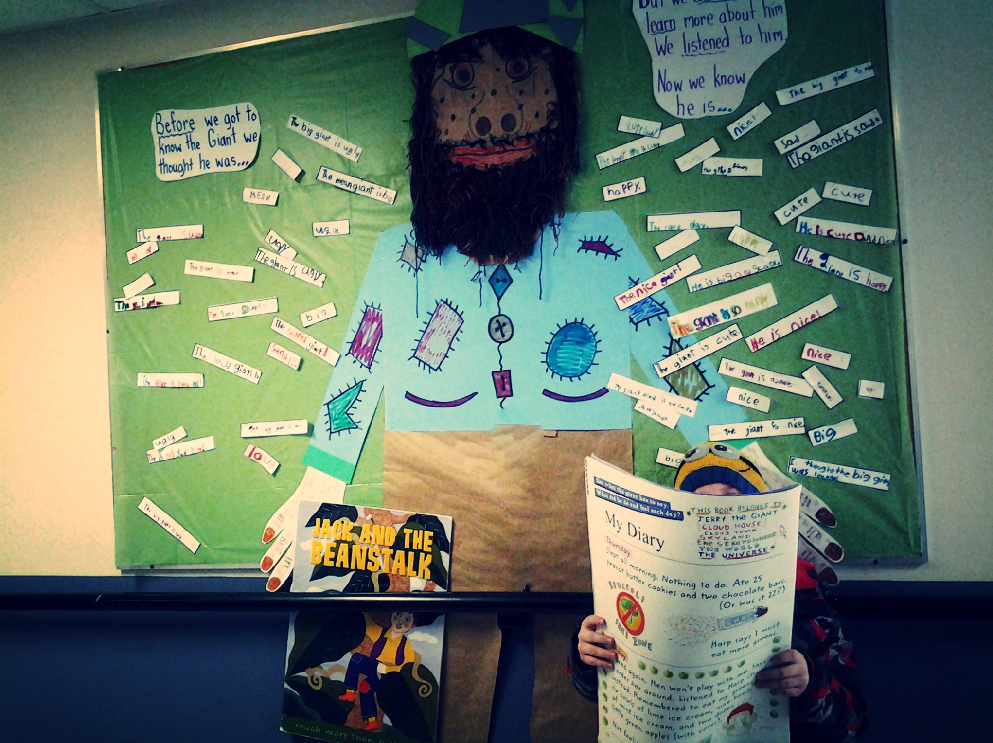 """The traditional tale of Jack and the Beanstalk was used to demonstrate how easily we judge others by their appearance and behavior. We are all guilty of making assumptions based on what we see and many times these assumptions are wrong. Students read the tale and responded to the question, """"What do you think of the giant?"""" All responses were negative because the story is told from Jack's point of view. Then we looked at the giant's personal diary and students learned how they had misunderstood him.  We never know for sure what motivates other people to behave the way they do. Nor can we ever truly understand a person's heart unless we take the time to know them. Jerry the Giant in Jack and the Beanstalk is a good example."""