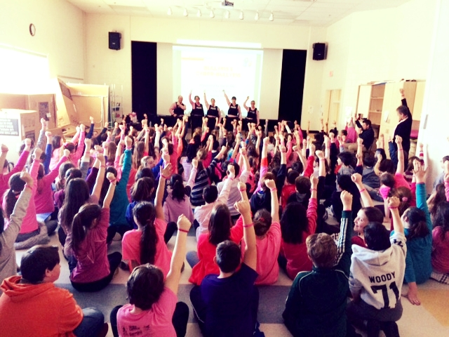 Our school participated in Pink shirt day. This day we all wear pink and encourage kindness towards others. We had three assemblies, one for each grade level, where local members of the RCMP discussed bullying and ways to avoid it. Students all received a bracelet with our school name and Stand Strong. Stand Together. This is to remind us that by coming together, we can make a difference and stop bullying from happening in our school and around the world. We discussed being empathetic and open to differences.  This connects to Global Citizenship as it encourages our students to celebrate differences and stand together will everyone else in our school, not to segregate anyone.