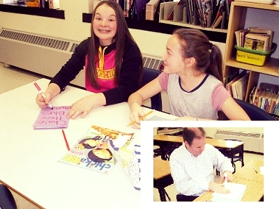 Two students in grade 5 decided to cheer up senior citizens in retirement homes. For 2 recess breaks they invited students from all grade levels to meet and make some cheery cards. Even our vice principal dropped by. The cards were then delivered to the WI Home and the Manor in Woodstock.  Global citizenship ideally starts at an early age. By encouraging our children to share their opinions and explore their own values, while respecting the values and opinions of others, we are creating a foundation for a contributing global citizen that lasts a lifetime.