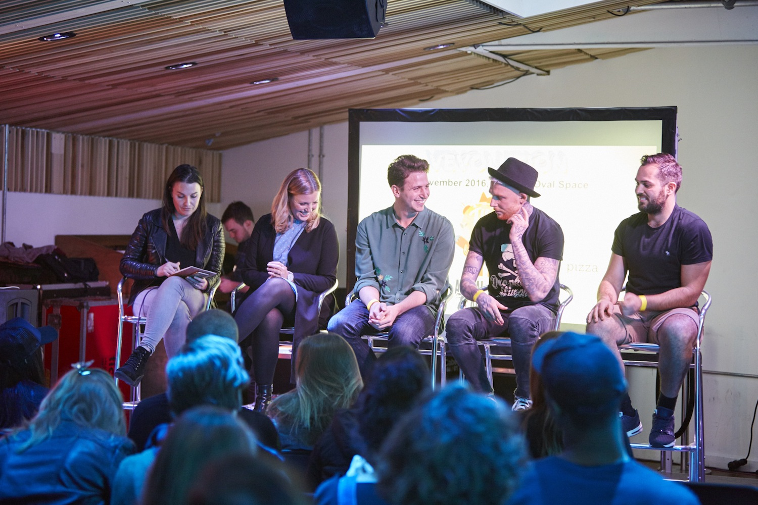 Entrepreneur Panel Discussion at Vevolution Festival last year. Panelists included Laura Stageman (VOTCH), Alex Petrides (allplants), Loui Blake (No Beef) and Cem Yildiz (What The Pitta)