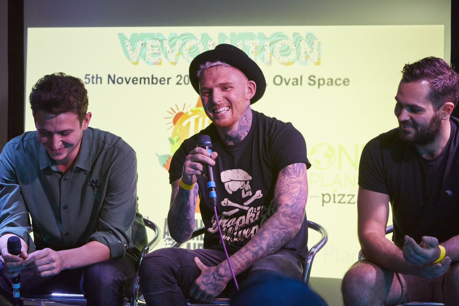 Alex Petrides (allplants), Loui Blake (No Beef) and Cem Yildiz (What The Pitta) during the Entrepreneur Panel Discussion at Vevolution Festival last year.