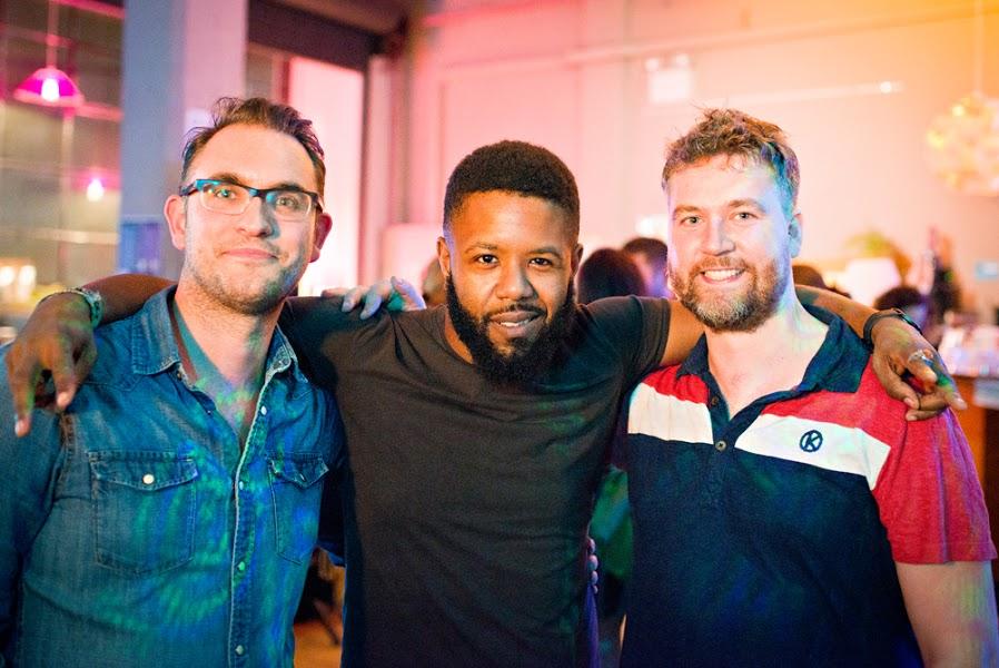 Woj Gawor, Joel Bravette and Damien Clarkson at the Humane League UK launch