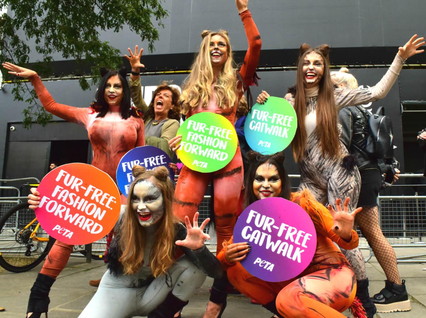 PETA Activists Celebrate London Fashion Week Going Fur Free (Photo Credit: PETA UK)