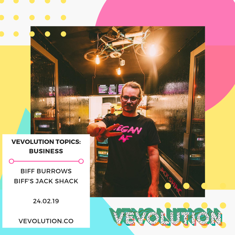 - Biffs Jack Shack was co-founded by Biff Burrows, who will be talking about his amazing street food journey at the event. Biff and his partners journey to 'jackfruit-based' fame started in late 2016, when Biff first went vegan… Then it was all up hill from there!