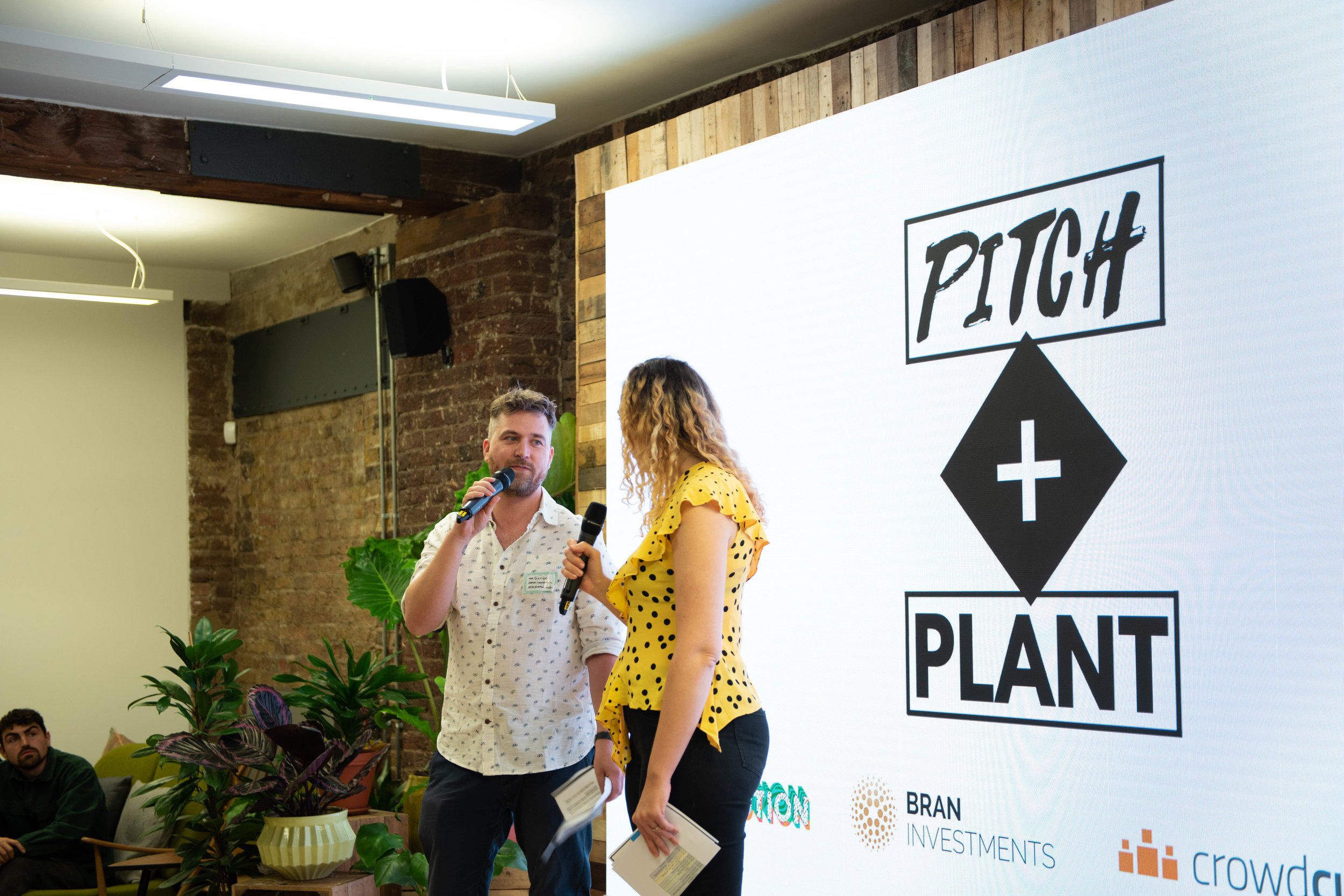 Vevolution co-founders, Damien + Judy, at Pitch + Plant 2018