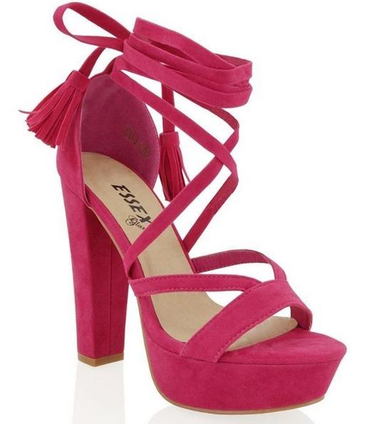 Amazon.com   Essex Glam womens pastel pink faux suede high block heel tie up platform sandals 10 B M  US   Heeled Sandals.jpeg