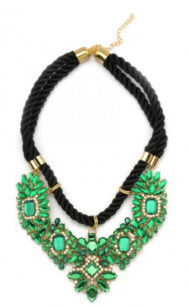 Shourouk Emerald Crystal Stone Cluster Braided Chain Statement Necklace.jpeg