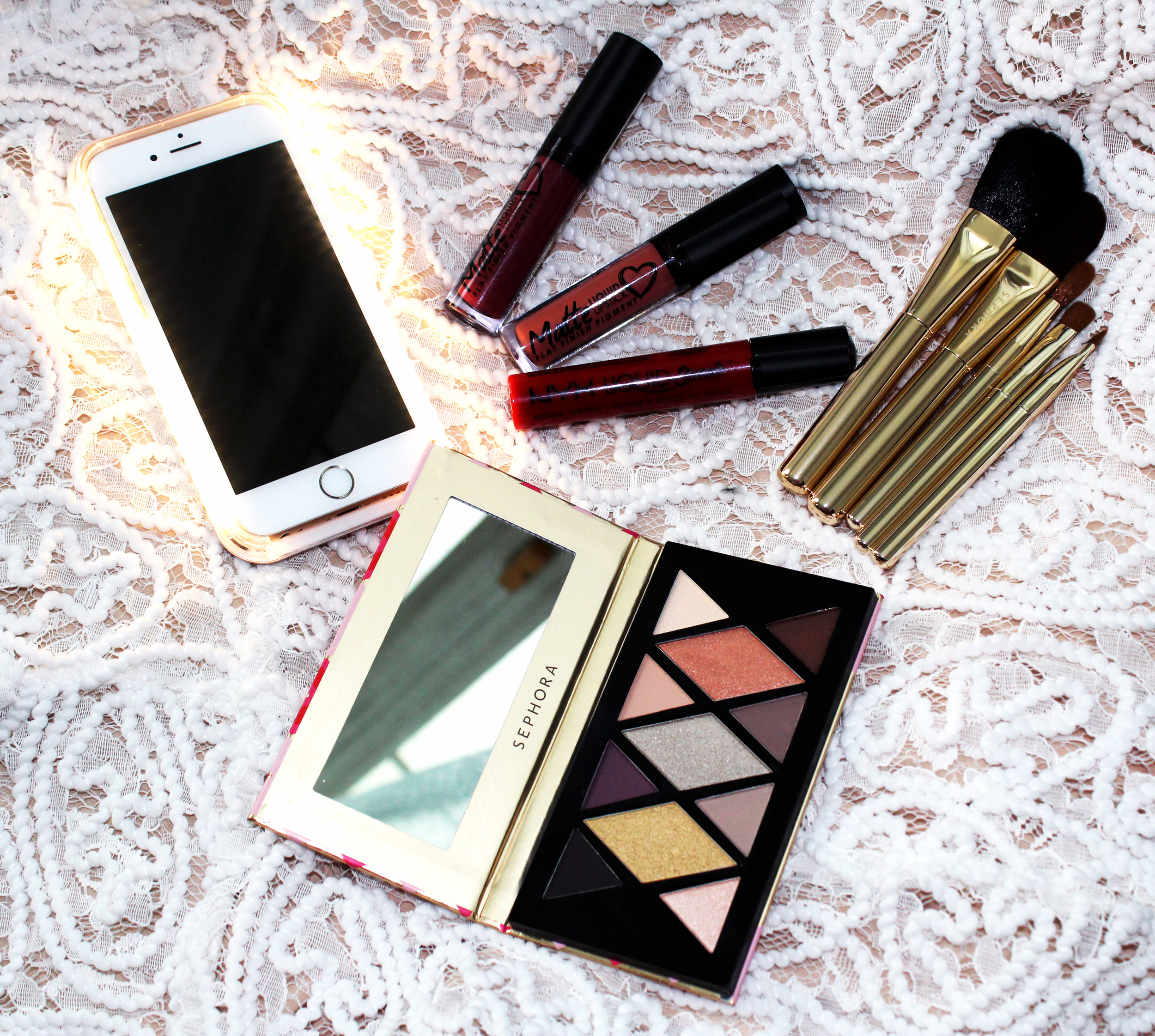 L  umee iPhone Cover / Colorina Matte MS Lipgloss in  Mocha  &  Wine  /  Nyx Liquid Suede Lipstick in Kitten Heels  /  Sephora Collection Sparkle & Shine Skinny Brush Set  /  Sephora Collection Matte Metallic Eyeshadow Palette