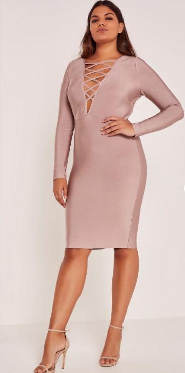 Purple Plus Size Lace Up Bandage Midi Dress   Missguided.png