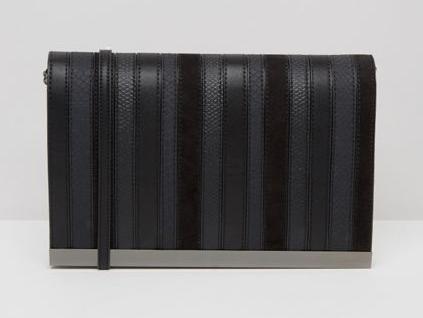 ALDO   ALDO Contrast Stripe Black Cross Body Bag With Metal Bar Detail.png