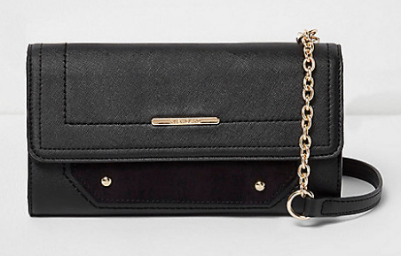 Black foldover faux suede panel bag   cross body bags   bags   purses   women.png