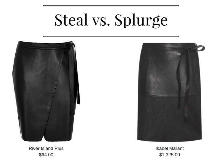 Leather Look Wrap Skirt - River Island Plus