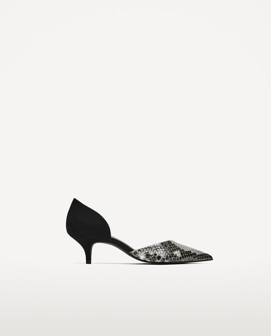 Zara Contrast Mid-Heel D'Osay Shoes