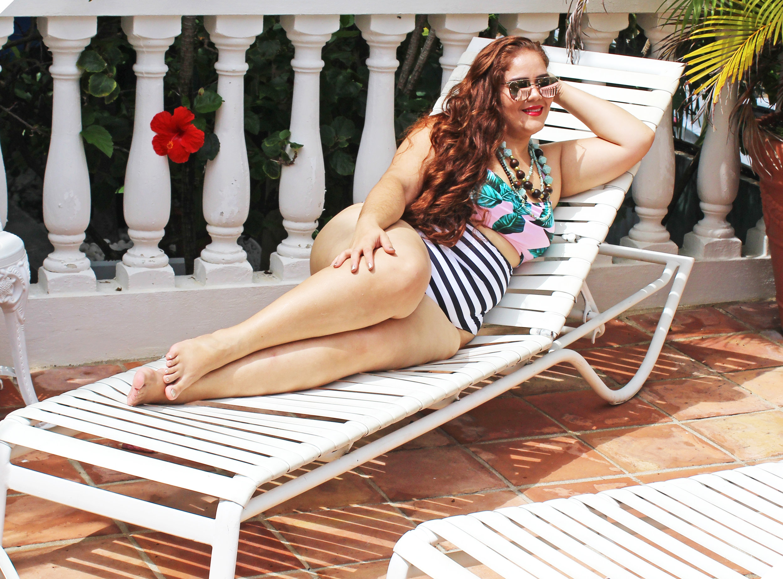 Swimsuit: Cupshe Leaves Printing Stripe Halter One-piece. $29.99. Size XXL (Fits a little loose on me, 14-16, perfect if you are a 18-20 or like a loose fit). Sunglasses:  Zelig Wear Wanderlust Collection . Made in Puerto Rico.