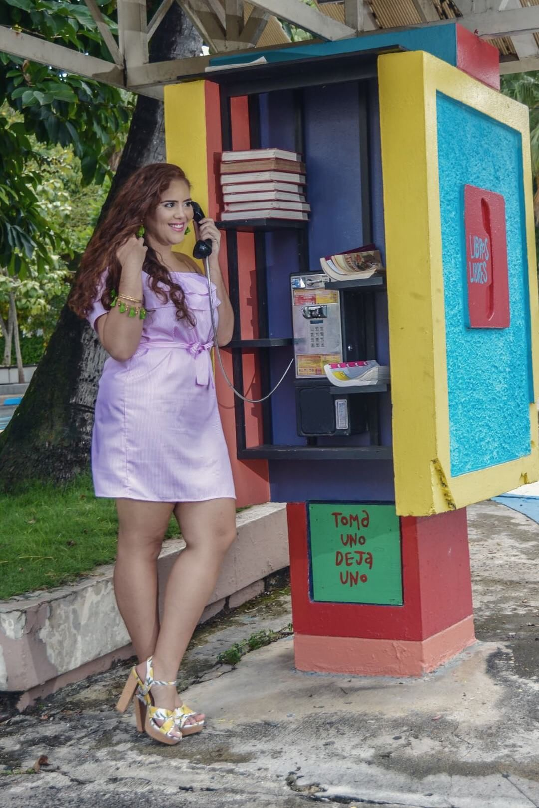 Pink Off Shoulder Striped Ruffle Dress ,  Lemon Heels (Hectik by Natalia @ La Defensa)  *Contains Affiliate Links*