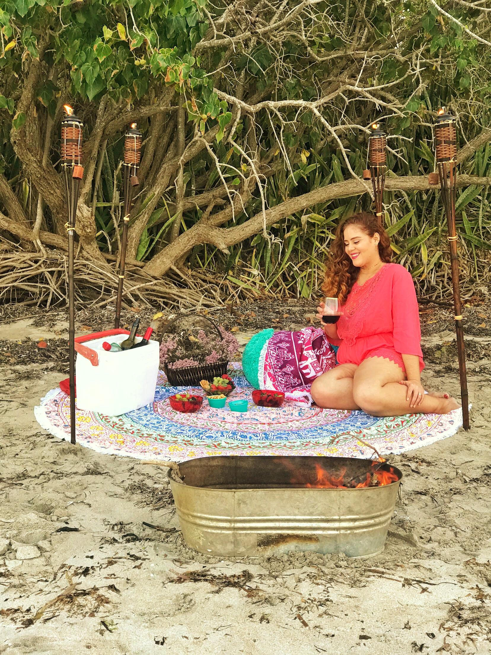 Palm Street Romper  |  Color Inspiration Round Beach Blanket  |  African Days Round Beach Blanket