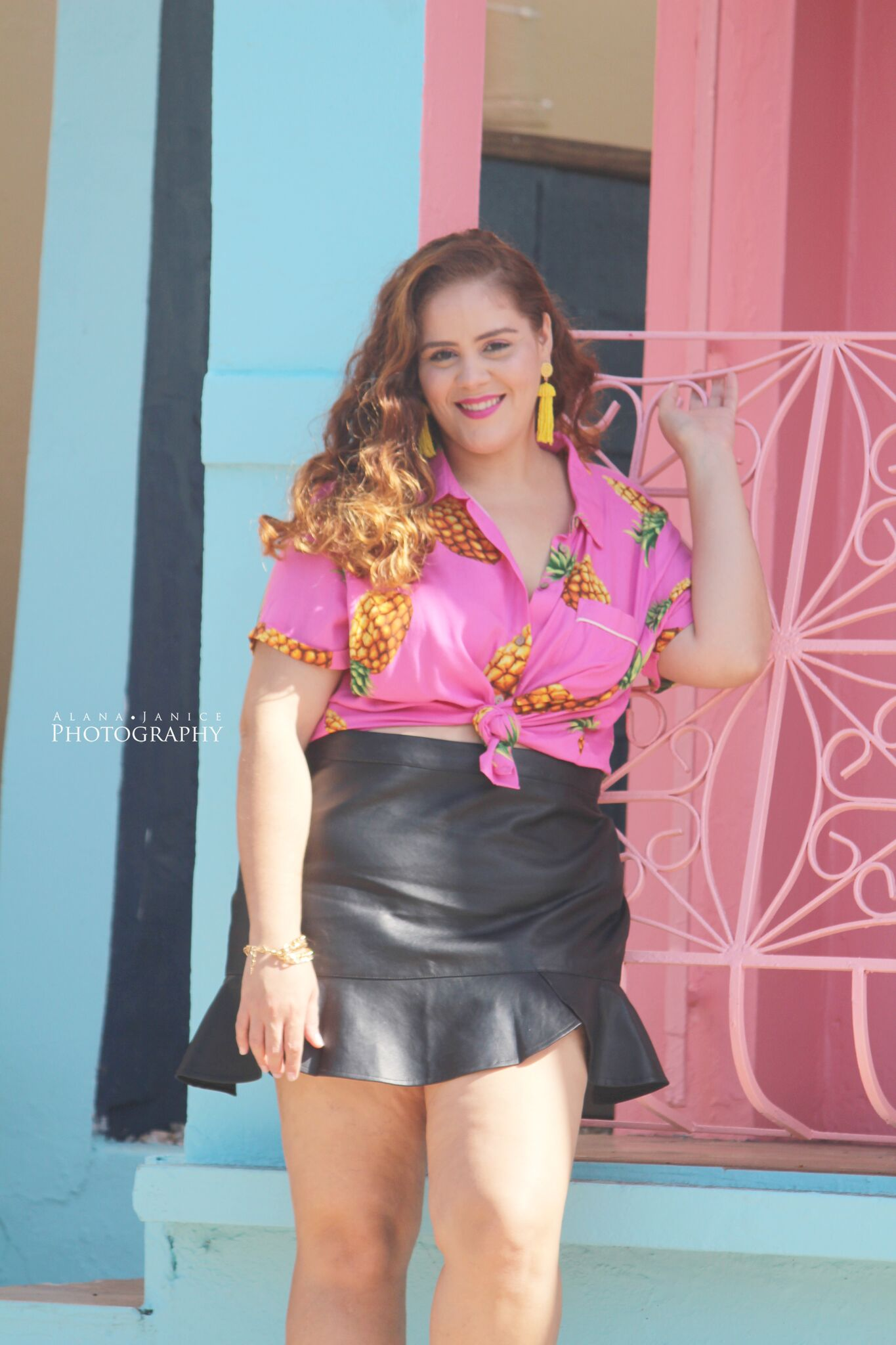 Pineapple Top ,  Black Ruffle Skirt , (New VIP Member Exclusive,  Buy One Get One Free ! That's 2 pieces for 39.95!),  Knotted Satin Slides ,  Accesories – Beya