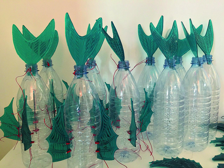 Bottled Ocean 2116  (being assembled)George Nuku, plexiglass, plastic bottles
