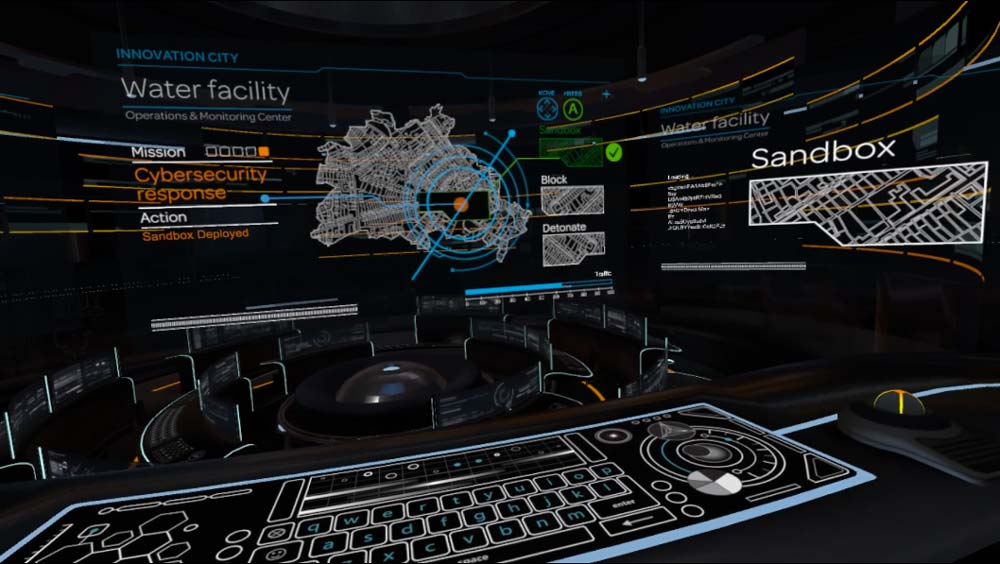 Screenshot from the virtual AT&T operations room, with music and sound design by Lab Grown Music.