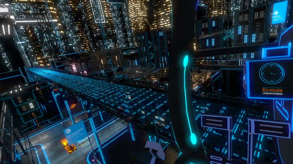 Screenshot from the helicopter flight through AT&T's Innovation City VR experience.  Music and sound design by Lab Grown Music