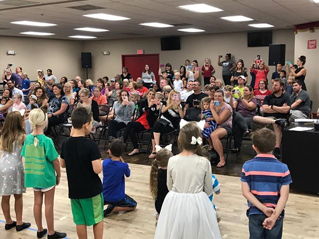 "It's a Full house for the ""Kitty Kat Capers"" Elementary Camp performance! Awesome job, kitty kampers! 🤩😻 #dearmoncast #performingartsschool #musicaltheaterkids"