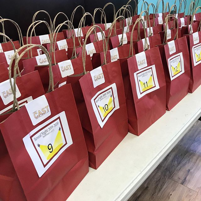 1️⃣ of these contain a certificate for $100 off tuition! ALL of the bags contain CAST swag 😎 Bags are $10, available for purchase only at reveal night, 6/28. 🛍 🤩