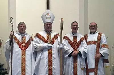 Abbot Gentzsch, Bishop Winzens, Fr. Sinacola and Deacon Clark