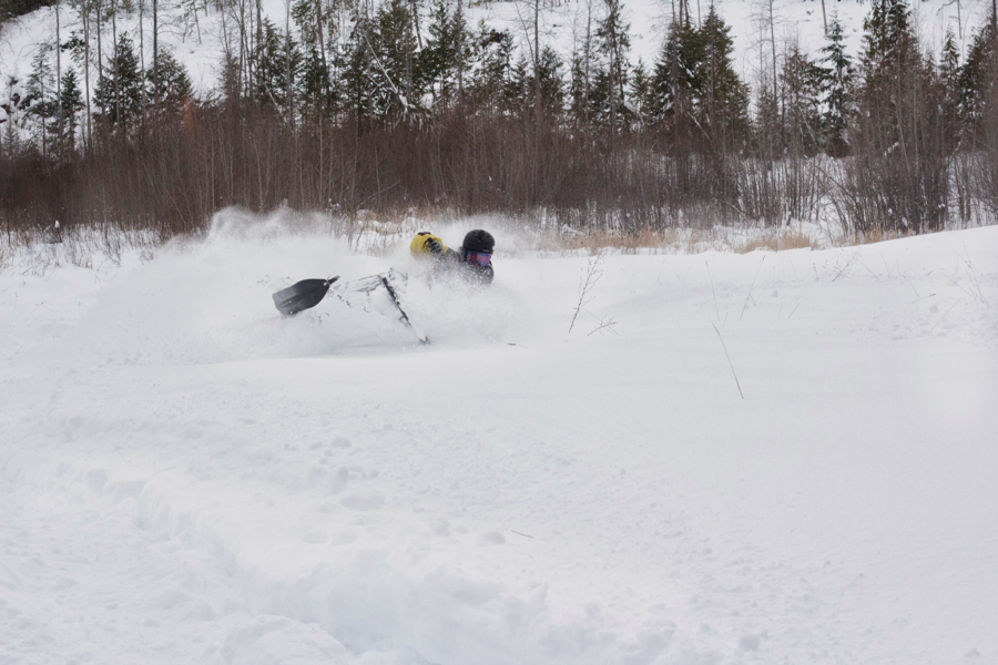 Getting some turns in on the old snow machine!