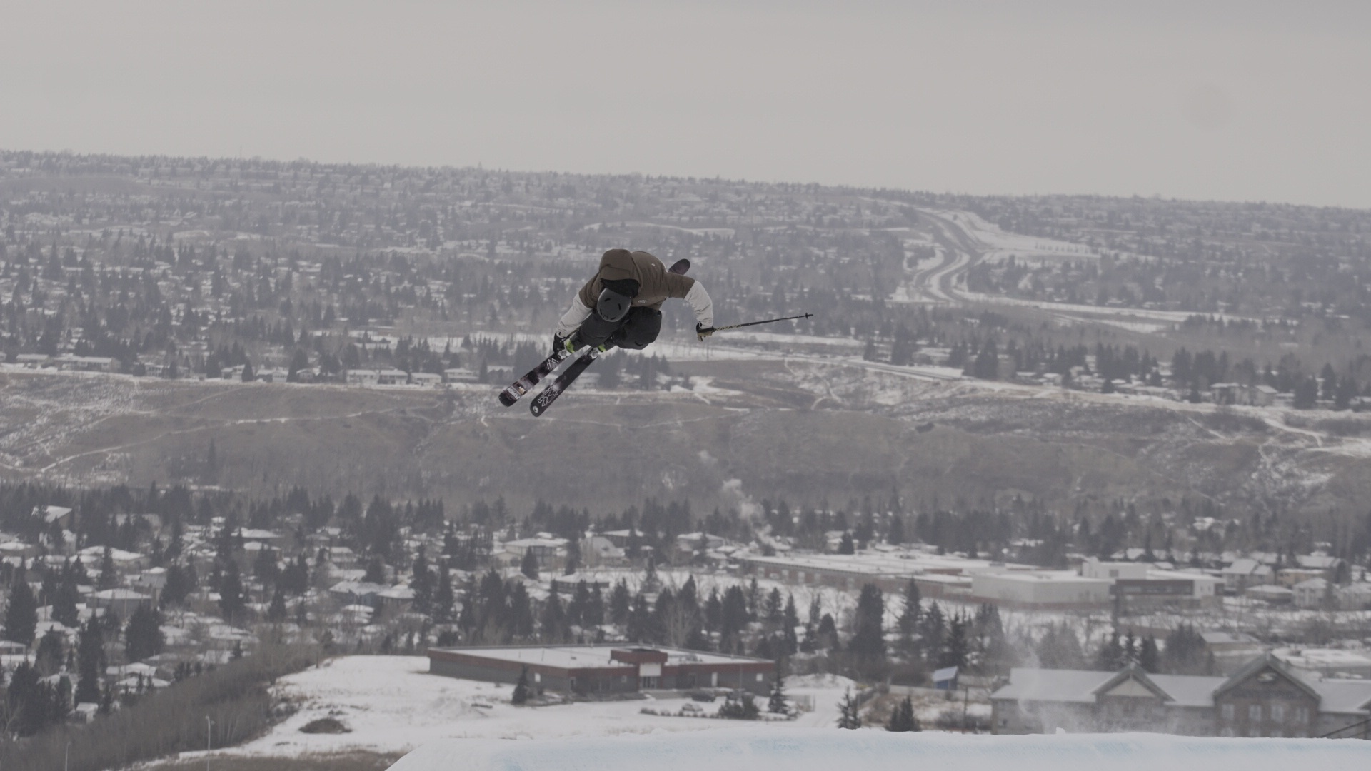 Flying over the city of Calgary!
