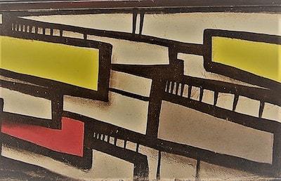 yellow red white rectangles graffiti