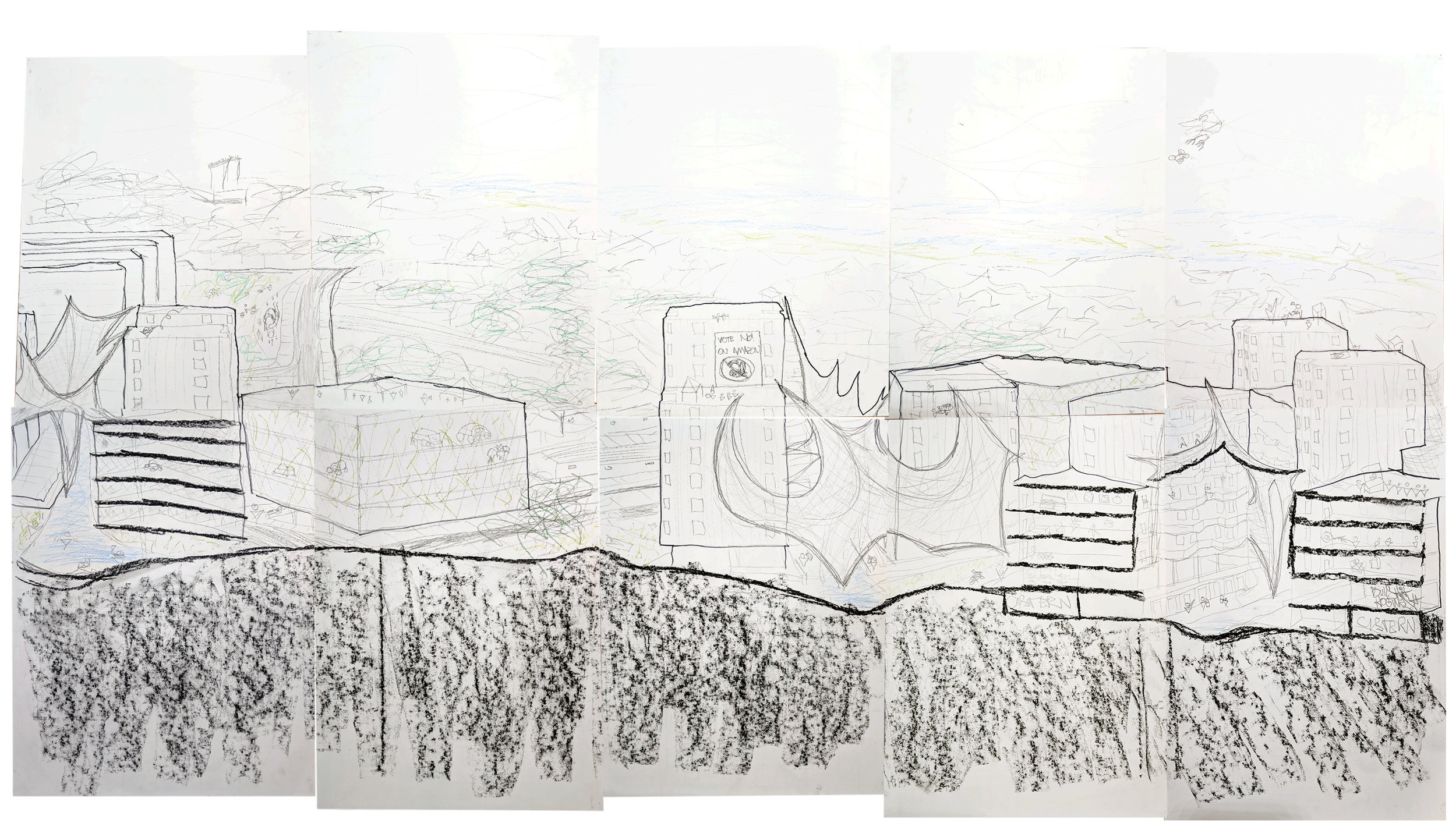 7.5' x 4' Section Perspective.Charcoal, Pencil, Colored Pencil