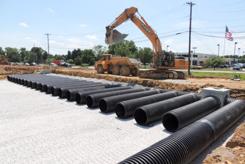Faulkner dealership during construction of the large detention systems for storm water management .