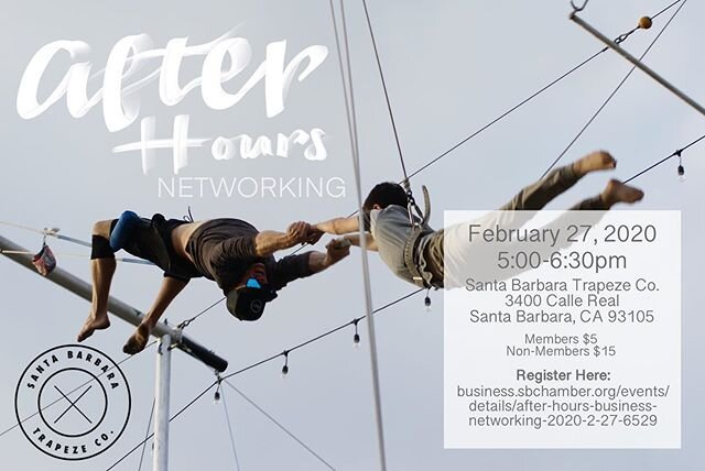 🤭Reminder to sign up for this After Hours hosted by our very own @santabarbaratrapezeco 🤩 Come out for an evening of networking and viewing of the Trapeze Co's Ribbon Cutting🎊 You won't want to miss it!