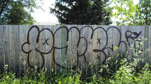 Wood fence ( Gérard Carmel Park, St-Hubert) - before
