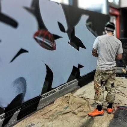 Deuxième journée de production avec @axelalime et @korb_crazyapes à #mdjantidote pour la @candiac_maville. Les gars se donnent sickment! Photo de @nicleonardphotograf  #piece #graf #graffiti #bleu #montanaspraypaint #axe #k6a #Korb #CA #CrazyApes #DoseCulture #mdj #kids #Candiac #blue #SinoShop #MTN #MTN94 #bomb #bombing #fresh #art #graffitiart #graffitiartist