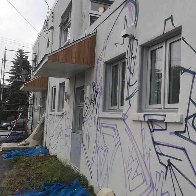 Back à back, les murale de style #graffiti! L'été est trop cours pour paresser.  #graf #proudy #CA #CrazyApes #KORB #DoseCulture #graffitiart #graffiti #montanaspraypaint #MTN94 #Longueuil #Boiteàlettres #médiationculturelle #canes #wall