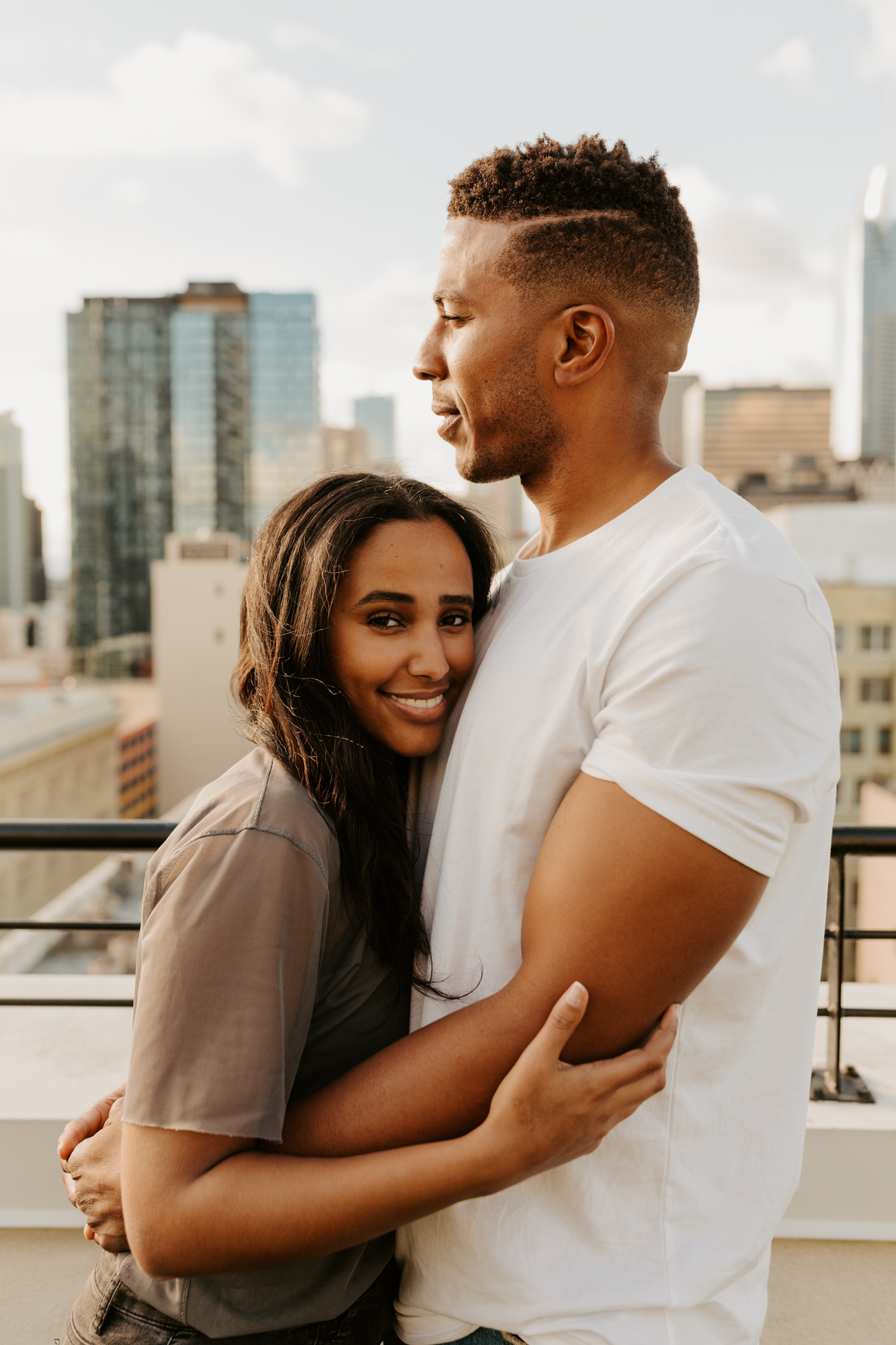 Downtown Los Angeles Rooftop Engagement Shoot | DTLA Rooftop Engagement | Los Angeles Wedding Photographer | Los Angeles Engagement Photographer | Tida Svy | www.tidasvy.com