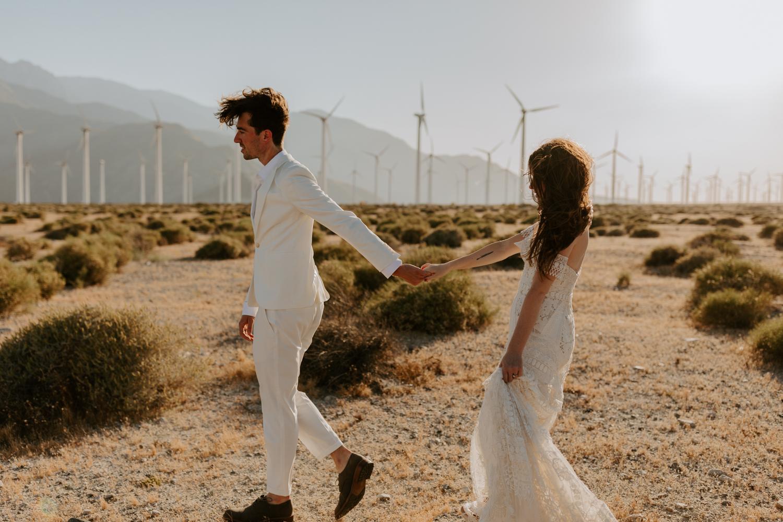 Palm Springs Wedding Photographer | Rue De Seine Wedding Dress | Desert Windmill Photoshoot | Tida Svy | www.tidasvy.com