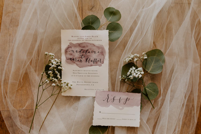 Simple Boho Watercolor Eucalyptus Wedding Invitation Suite   Joshua Tree Wedding   Tida Svy   www.tidasvy.com