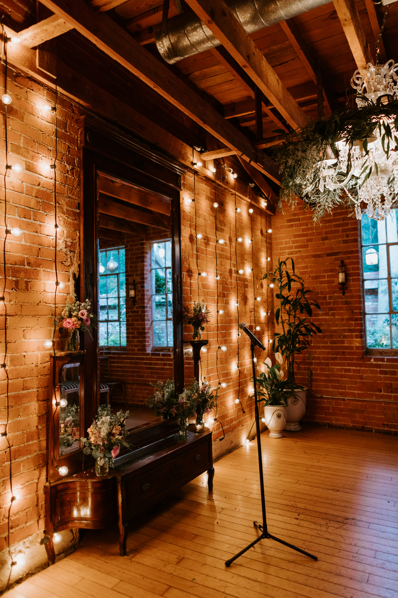 Romantic edison bulb ceremony detail | Carondelet House Wedding in Downtown Los Angeles | Los Angeles Wedding Photographer |Tida Svy Photography | www.tidasvy.com
