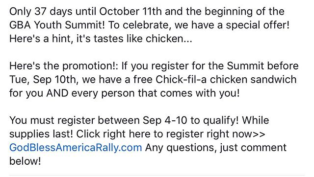Free Chicken!! GodBlessAmericaRally.com