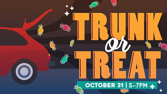 Join us for trunk or treat! Thursday, October 31, from 5 to 7 PM! Every child will receive a massive amount of candy!