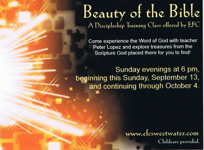 Beauty of the Bible postcard invitation.