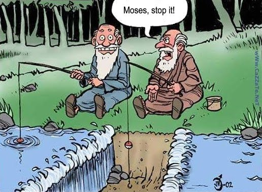Fishing with Moses cartoon.